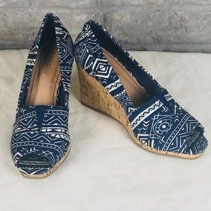 BAMBOO Canvas & Cork peep-toe wedges shoes size8.5